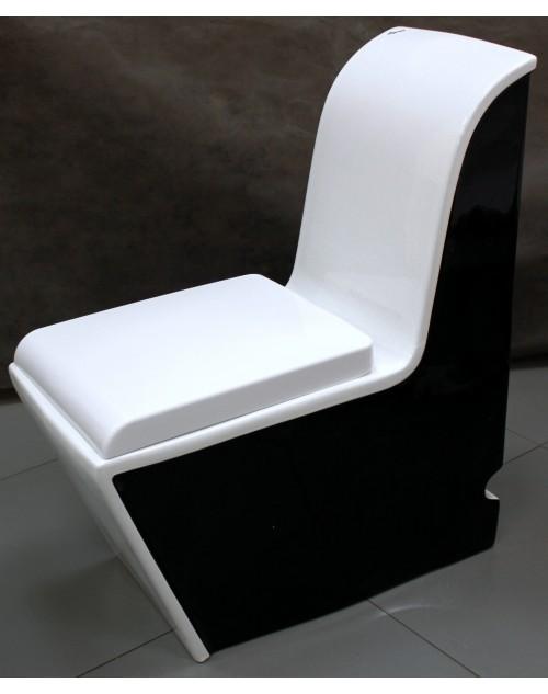 Цветной унитаз моноблок черно-белый 177А